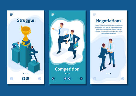 Isometric Template app businessmen on a pedestal of superiority, successful leader, smartphone apps. Иллюстрация