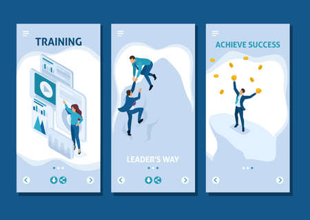 Isometric Template app goal achievement concept with your team, leadership, smartphone apps.
