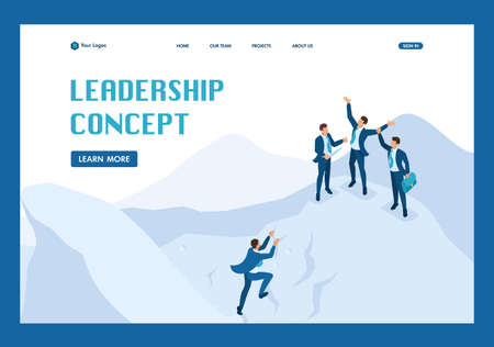 Isometric goal achievement concept with your team, leadership. Template Landing page.