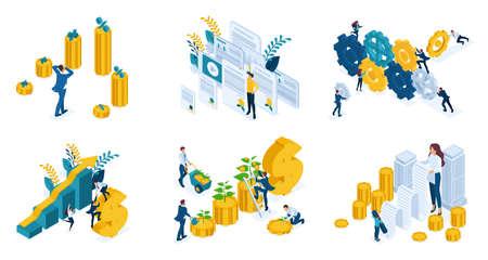 Conjunto isométrico de conceptos de negocio, inversión, liderazgo, éxito, mecanismo empresarial.