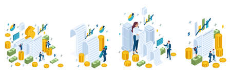 Isometric set of business concepts, agreement, contract, loan, mortgage, money, cash.