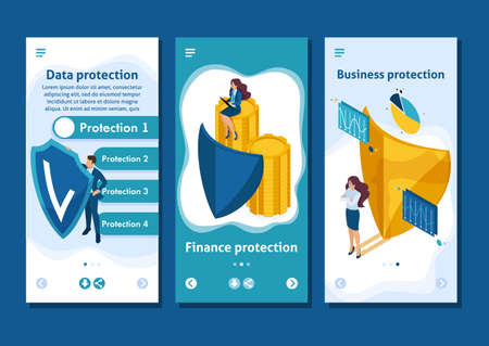Isometric Template app concept how to ensure full safety of your business, lawyer girl, smartphone apps.