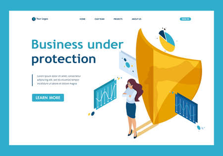 Isometric how to ensure full safety of your business, lawyer girl. Website Template Landing page.