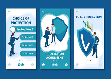 Isometric Template app concept Business businessmen hiding behind a shield from attack, smartphone apps. Illustration