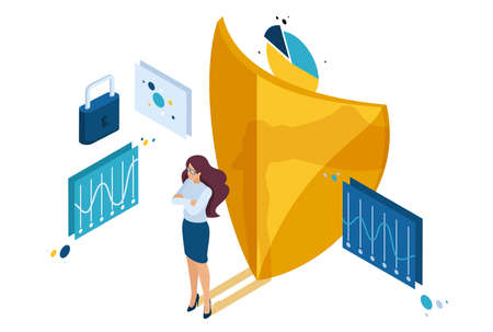 Isometric how to ensure full safety of your business, lawyer girl. Concept for web design. Ilustrace