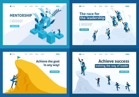 Set of Landing pages isometric concept leadership, motivation, goal movement, mentorship. Illustration
