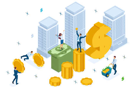 Isometric Mutual fund investment in construction, investors have money. Concept for web design.