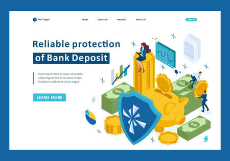 Isometric reliable protection of your money, bank deposit, security. Template Landing page. Illustration