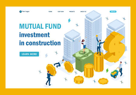 Isometric Mutual fund investment in construction, investors have money. Template Landing page. Illustration
