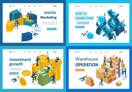 Set of landing pages isometric concept digital marketing, investment growth, genetic engineering, warehouse. Ilustração