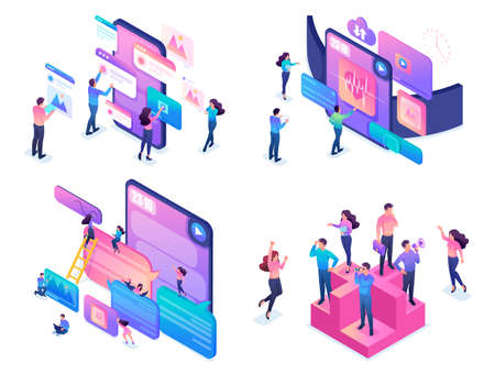 Set of bright isometric concepts, creative young people, using modern devices.