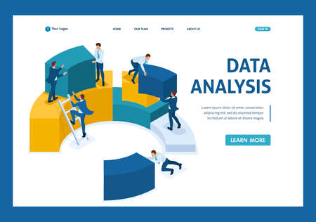Isometric data analysis, data collection for analytics, employees work. Template Landing page. Ilustracja