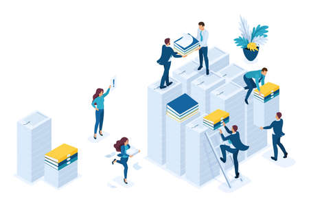 Isometric Preparation of tax reports, tax agents check the documents. Concept for web design. Vektorové ilustrace