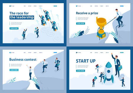 Set of landing pages of the isometric concept of leadership and rivalry, competition, goal achievement.