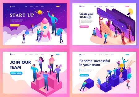 Set of landing pages of isometric teamwork concept, goal achievement, brainstorming, success, solution.