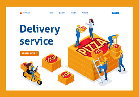 Isometric delivery service collects the order, the girl on the bike carries a pizza. Template Landing page. Ilustração