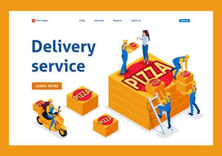 Le service de livraison isométrique récupère la commande, la fille à vélo porte une pizza. Page de destination du modèle.