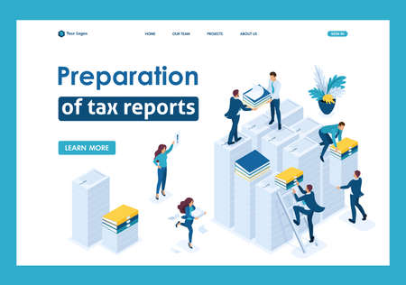 Isometric Preparation of tax reports, tax agents check the documents. Template Landing page.