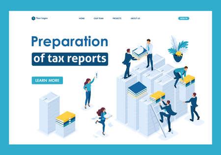 Isometrische Erstellung von Steuerberichten, Steuerberater prüfen die Unterlagen. Vorlage-Landingpage.