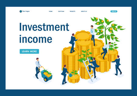 Isometric Income from investments, businessmen collect profits and reinvest money. Template Landing page.