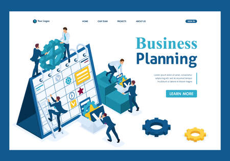 Isometric Businessmen make a business plan for the next month. Template Landing page. Illustration