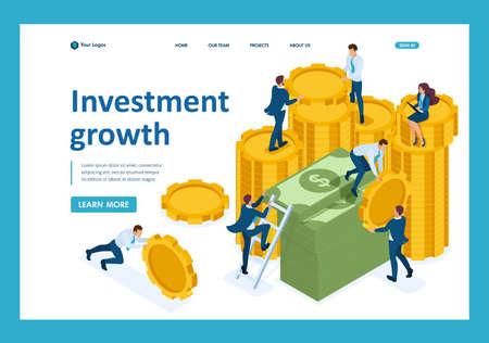 Crecimiento de la inversión isométrica, los inversores llevan dinero al banco. Plantilla de página de destino. Ilustración de vector