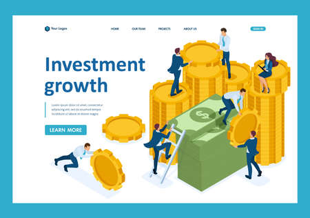 Isometric investment growth, investors carry money to the bank. Template Landing page. Illustration