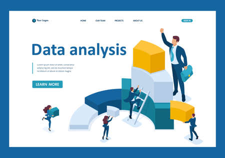 Isometric Data for analysis, creating charts, businessmen carry information. Template Landing page.