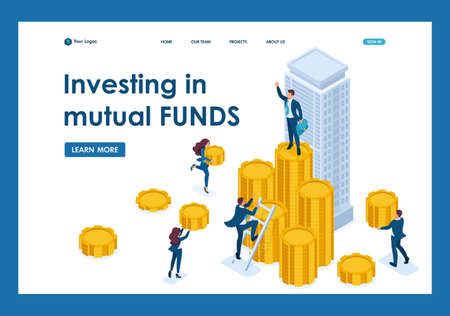 Isometric Businessmen carry money to an investment company, a financial instrument. Template Landing page.