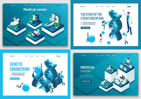 Set of landing pages of the isometric concept. Scientists research DNA structure, medical center, medical workers.