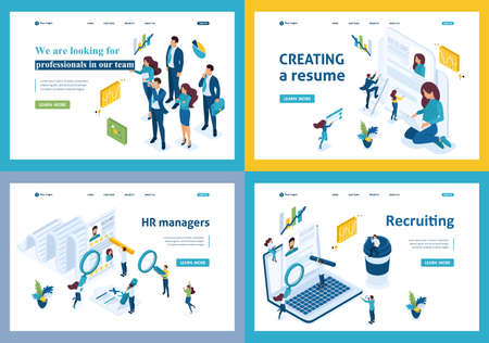 Set of landing pages of the isometric recruiting concept hiring employees in a company, HR Manager. Illustration