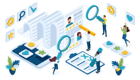 Isometric icon set for recruiting, HR Manager draws up an employment contract, selection of candidates.