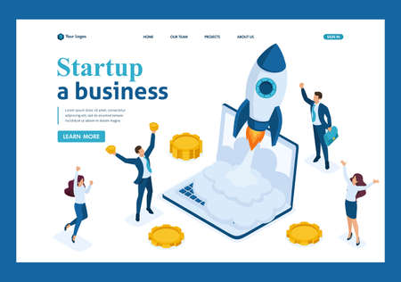 Isometric business startup, businessmen rejoice rocket take-off from laptop, business investment. Template Landing page.