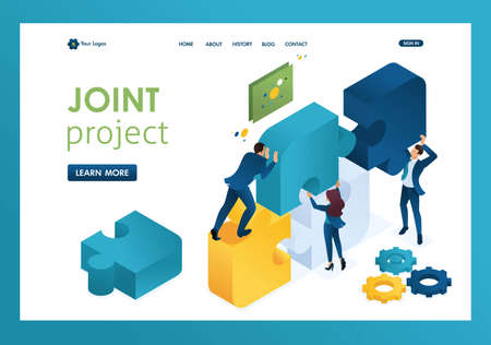 Isometric business joint project of a big team, teamwork, brainstorming. Template landing page. Illustration