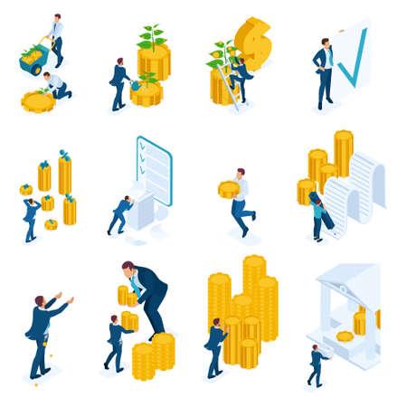 투자, 은행 대출, 모기지의 아이소메트릭 개념. 웹사이트 및 모바일 애플리케이션 디자인용.