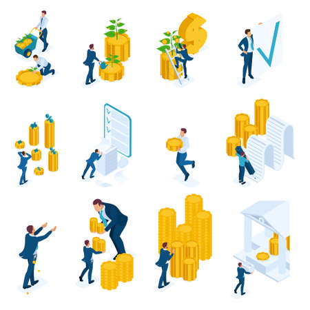 Isometric concepts of investment, Bank loans, mortgage. For website and mobile application design.