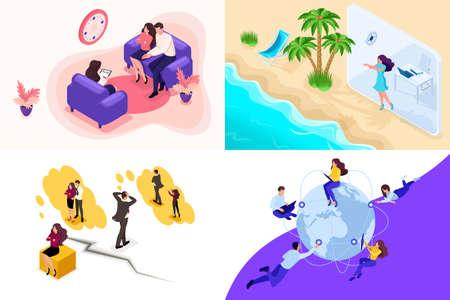 Set Isometric concept family psychology and conflicts, vacation, freelance. To create web applications.