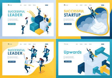 Définir des modèles de page Web de conception d'entreprise prospère. Concepts d'illustration modernes pour le développement de sites Web et de sites Web mobiles.