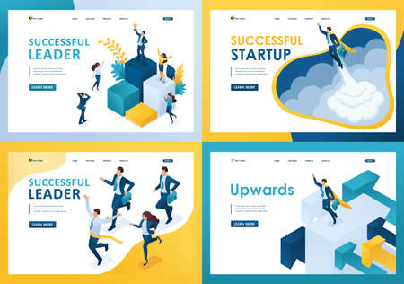 Set design web page templates of successful business. Modern illustration concepts for website and mobile website development.