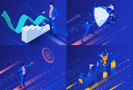 Set Isometric business concept control a puppet, protection the shield, aiming the target, start right now. To create web applications. Illustration