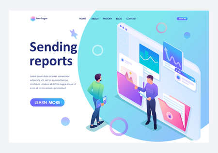 Isometric collecting and sending data for the report, young entrepreneurs discuss the data on the screen. Template landing page. Иллюстрация