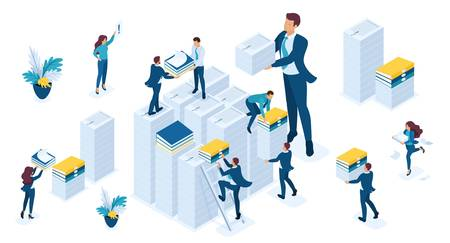 Isometric set of business people make up reports for tax, business audit, tax period, young businessmen. Иллюстрация
