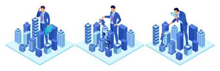 Isometric concepts of a big businessman running a city. For website and mobile application design. Foto de archivo - 125659406
