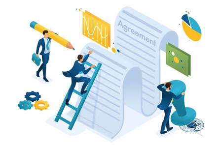 Isometrische Untersuchung des Vertragstextes durch Mitarbeiter des Unternehmens und Vertragsunterzeichnung. Konzept für Webdesign. Vektorgrafik
