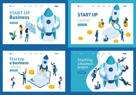 Définir des modèles de page Web de conception de démarrage d'entreprise. Concepts d'illustration modernes pour le développement de sites Web et de sites Web mobiles. Vecteurs