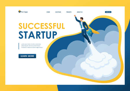 Isometric the rise of career, a businessman launches a startup one. Template landing page.