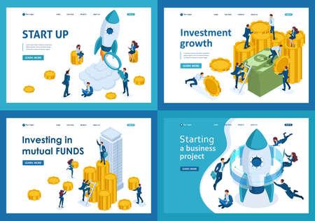 Définir des modèles de page Web de conception d'investissement dans le démarrage d'un projet d'entreprise. Concepts d'illustration modernes pour le développement de sites Web et de sites Web mobiles.