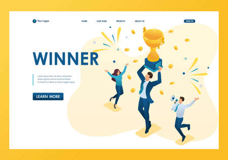 Isometric successful businessman celebrating a victory, and to triumph in Cup winners. Template landing page.
