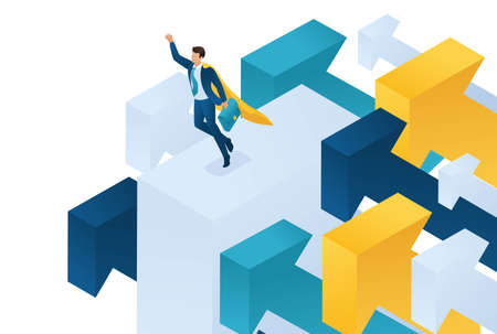 Isometric aiming for the top, a businessman flies on large arrows. Concept for web design.