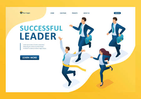 Isometric Successful leader, leading the race, winning at any cost. Template landing page